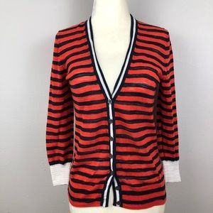 J. Crew Stripe Gauze Cardigan Sweater - XS